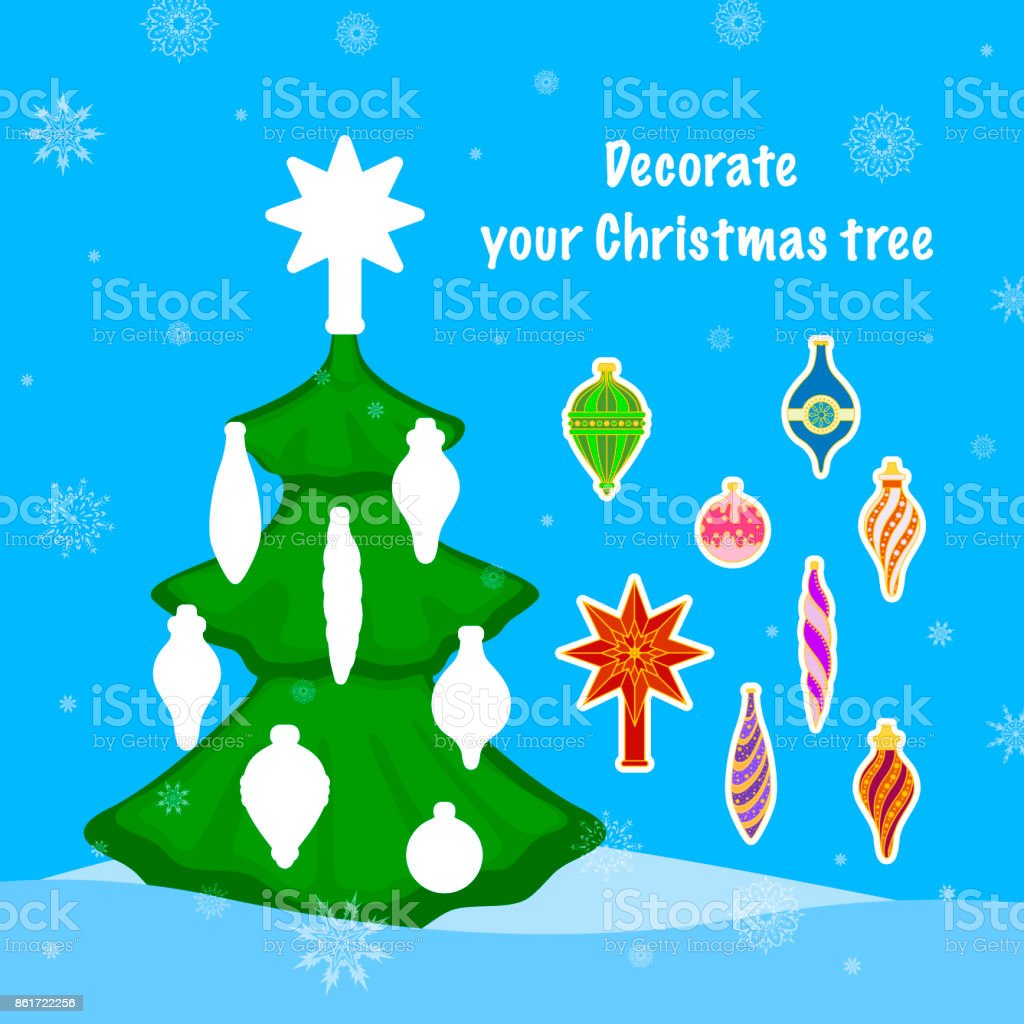 Childrens Puzzle Game Decorate The Christmas Tree Toys Vector Stock