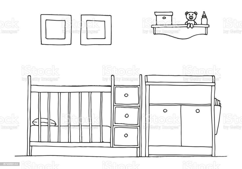 Children's room. Children's furniture. Crib, changing table. Hand drawn vector illustration of a sketch style. vector art illustration