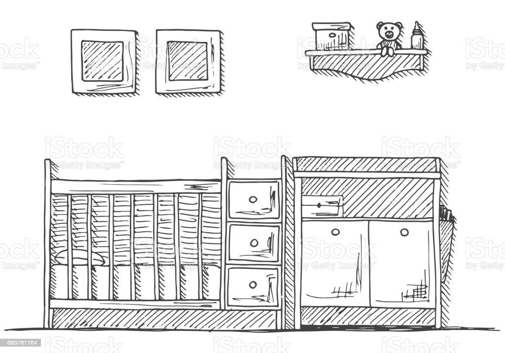 Kinderzimmer Kindermobel Kinderbett Wickeltisch Handgezeichnete