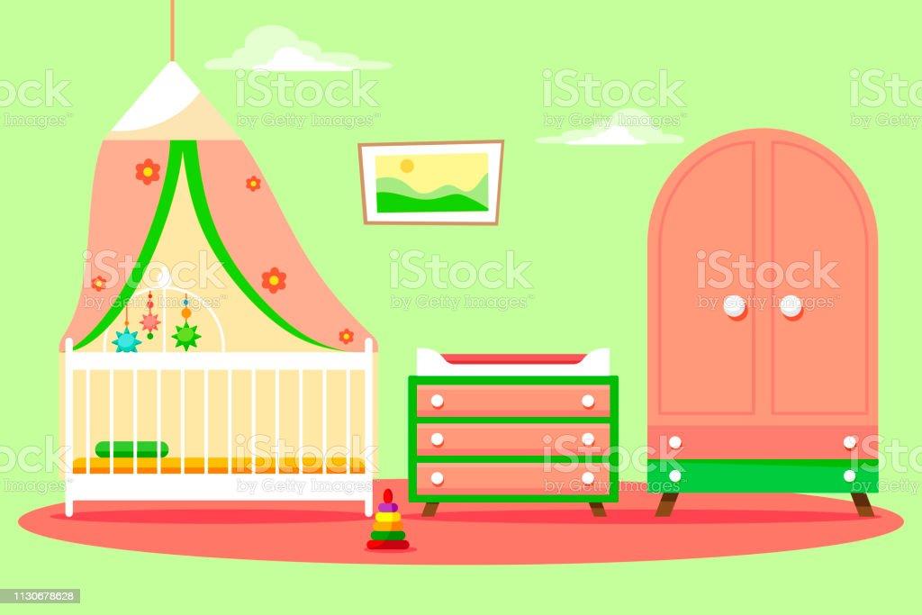Kinderzimmer Für Ein Mädchen Mit Einem Schönen Rosa Schrank ...