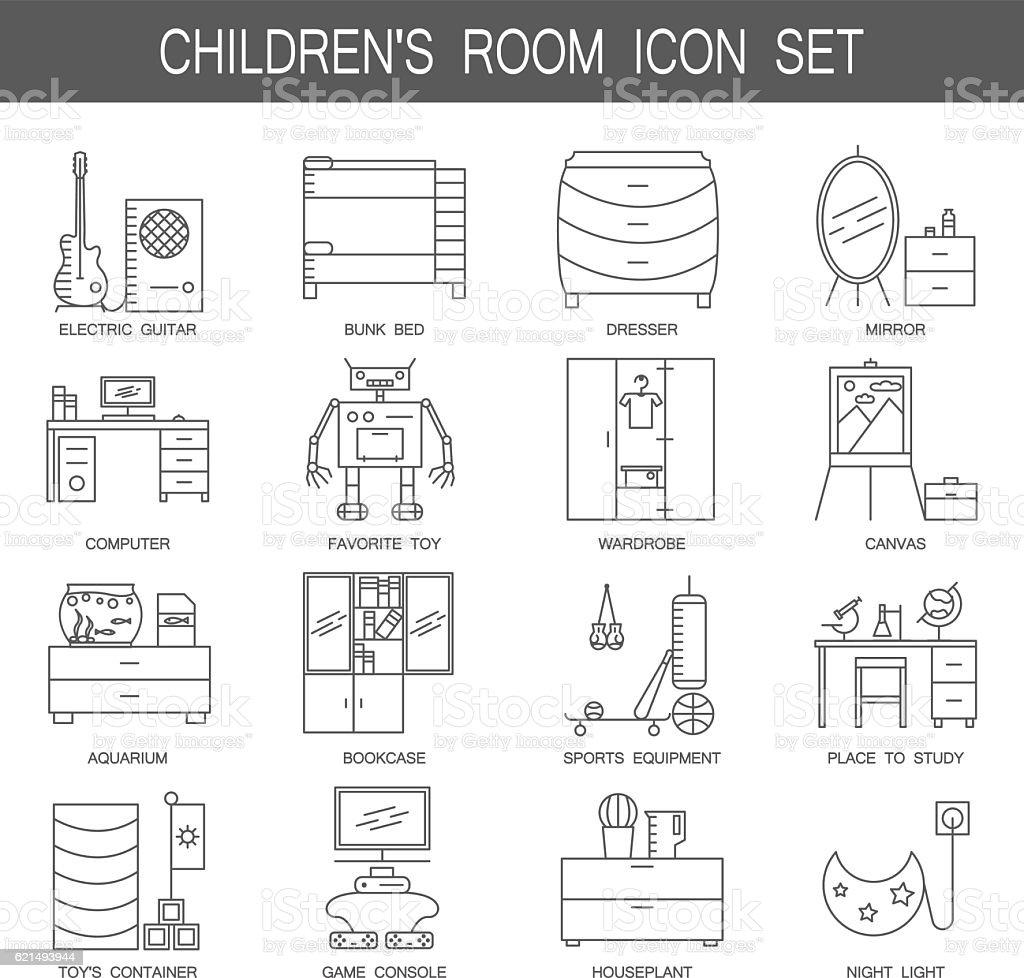 Children's room icon set. childrens room icon set – cliparts vectoriels et plus d'images de ameublement libre de droits