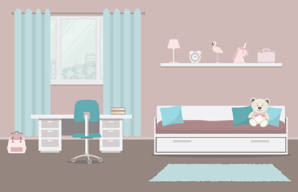 ilustrações de stock, clip art, desenhos animados e ícones de children's room in a pink and blue color - unicorn bed