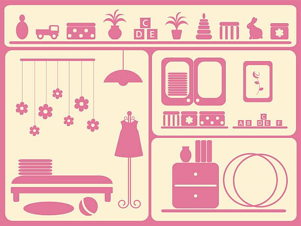 kinder-innenraum und objekte-set. - stapelbett stock-grafiken, -clipart, -cartoons und -symbole