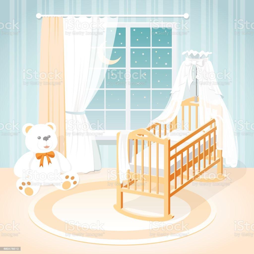 Kinderzimmer Mit Einem Fenster Ein Kinderbett Und Spielzeug Stock