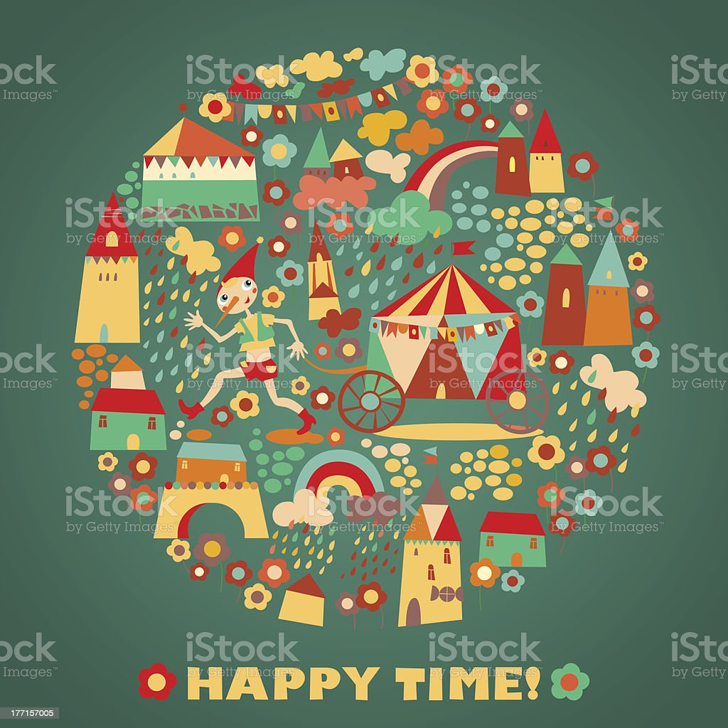 Children's round background with multi-colored houses. Happy time royalty-free childrens round background with multicolored houses happy time stock vector art & more images of art