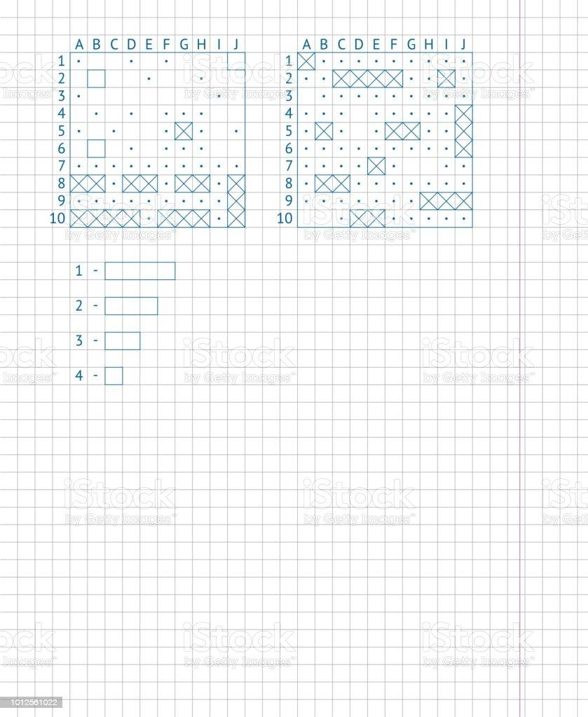 Children's school game sea battle. Drawing on a school notebook sheet. Naval battle board game on paper. vector art illustration