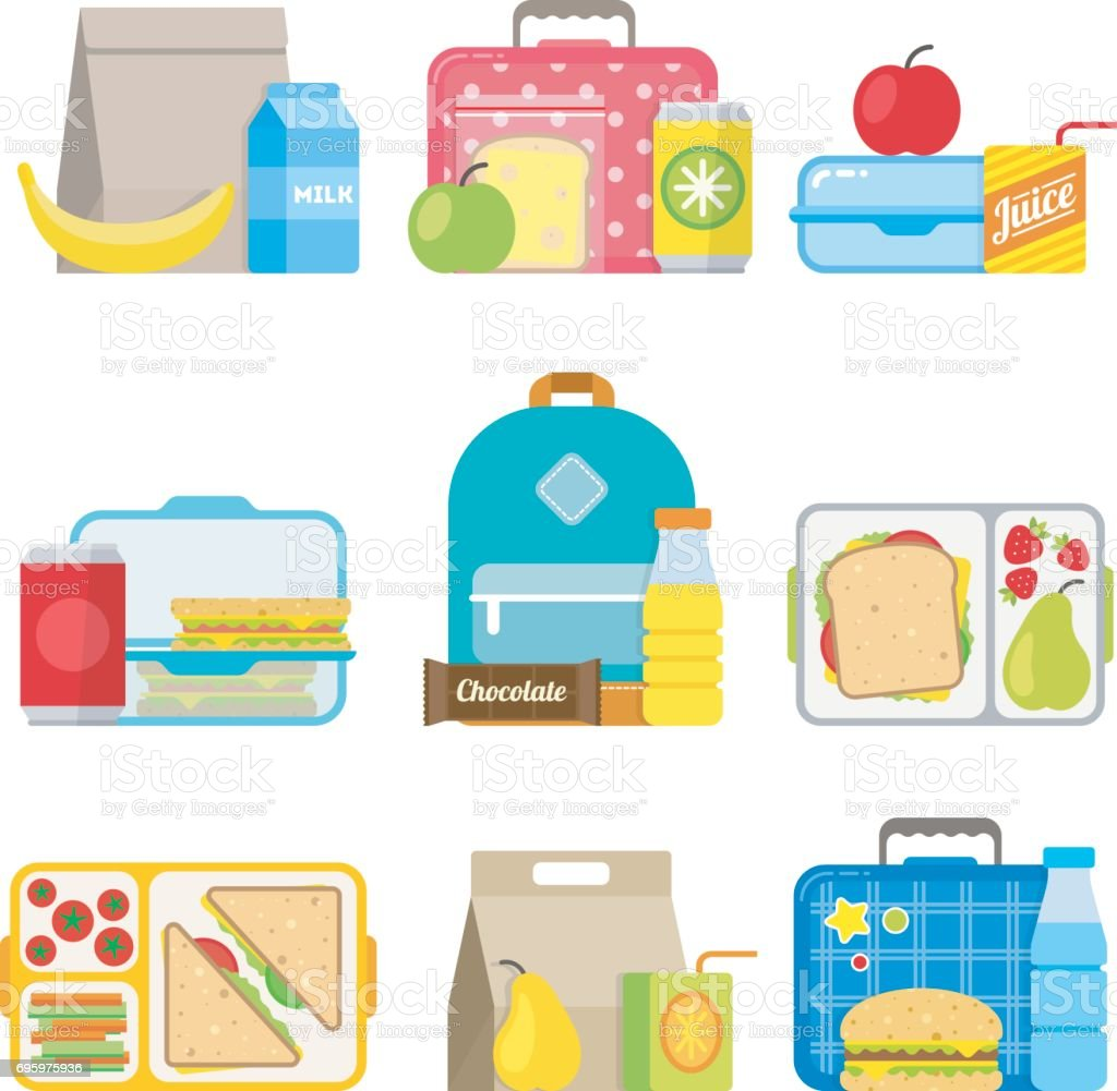 Children's school lunch box icon in flat style vector art illustration