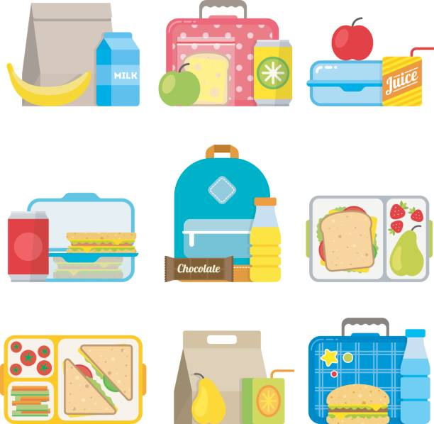 stockillustraties, clipart, cartoons en iconen met children's school lunch vak pictogram in vlakke stijl - lunch