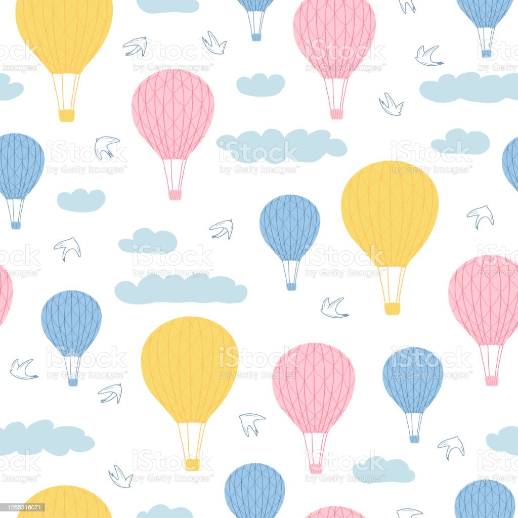 Childrens Seamless Pattern With Air Balloons Clouds And Birds On White Background Cute Texture For Kids Room Design Wallpaper Textiles Wrapping Paper Apparel Vector Illustration Stock Illustration Download Image Now Istock