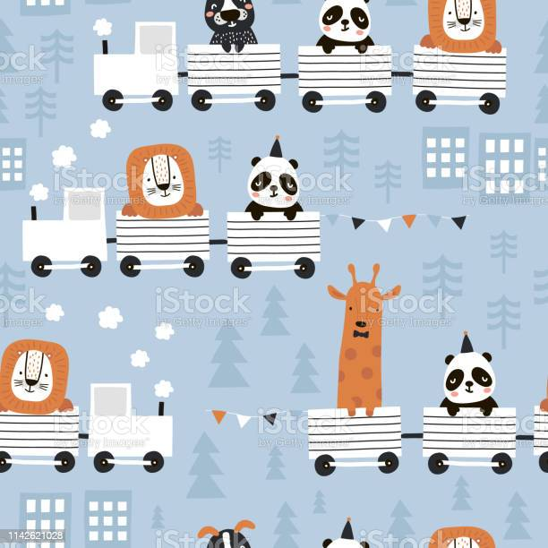 Childrens seamless pattern with cute animals riding the train in the vector id1142621028?b=1&k=6&m=1142621028&s=612x612&h=todexshd41nj8v7glr  8 m wryxiftrn5j3saecjr4=