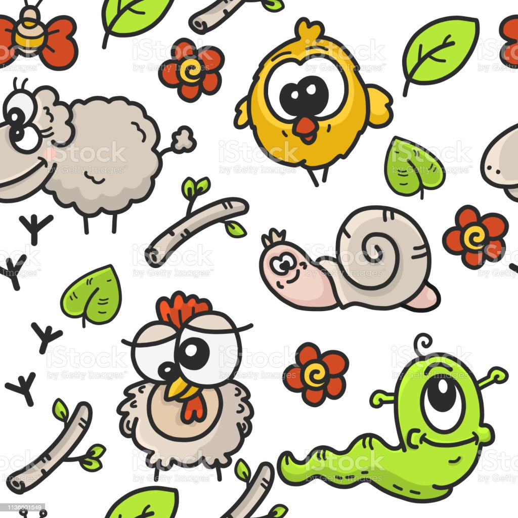 Childrens seamless pattern with the image of cartoon drawings on the theme of the garden with the image of farm animals and plants illustration