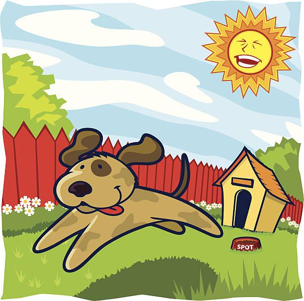 Childrens Series I -Dog in Yard- vector art illustration