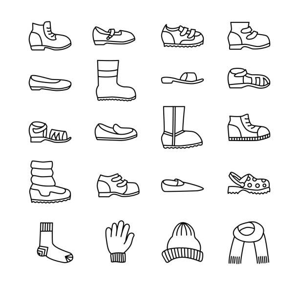 kinder schuhe & zubehör. vektor-linie-icon-set. verschiedene arten von kinder schuhe. stiefel, turnschuhähnlichen, sandalen, flats, running schuhe für jungen und mädchen. - kinderstiefel stock-grafiken, -clipart, -cartoons und -symbole