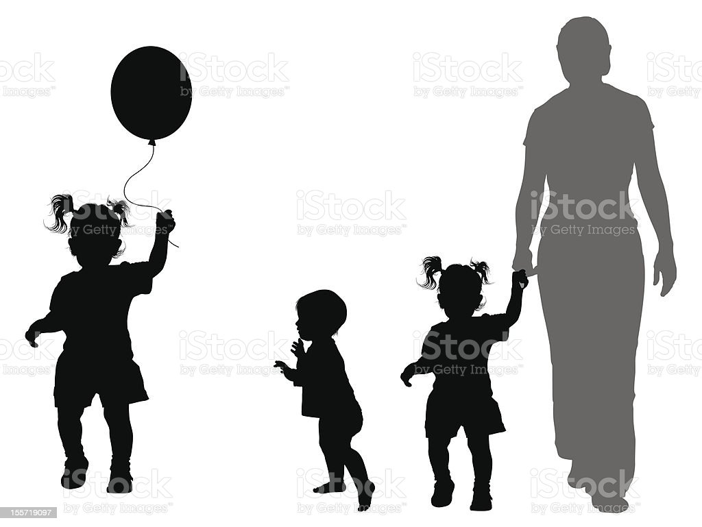 Children's silhouettes vector art illustration
