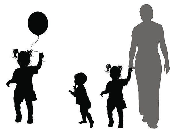 kinder-silhouetten - toddler stock-grafiken, -clipart, -cartoons und -symbole
