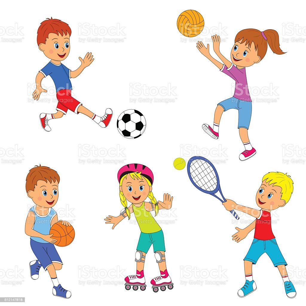 Children S Youth Sports: Childrens Sports Activity Set Stock Vector Art & More