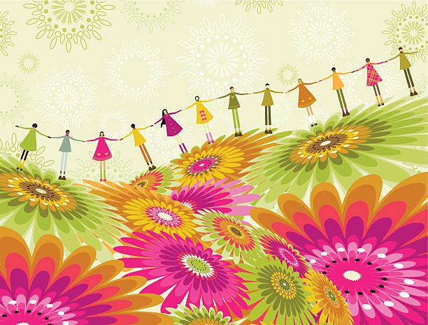 Children's spring vector art illustration