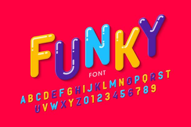 illustrazioni stock, clip art, cartoni animati e icone di tendenza di children's style font design - divertirsi