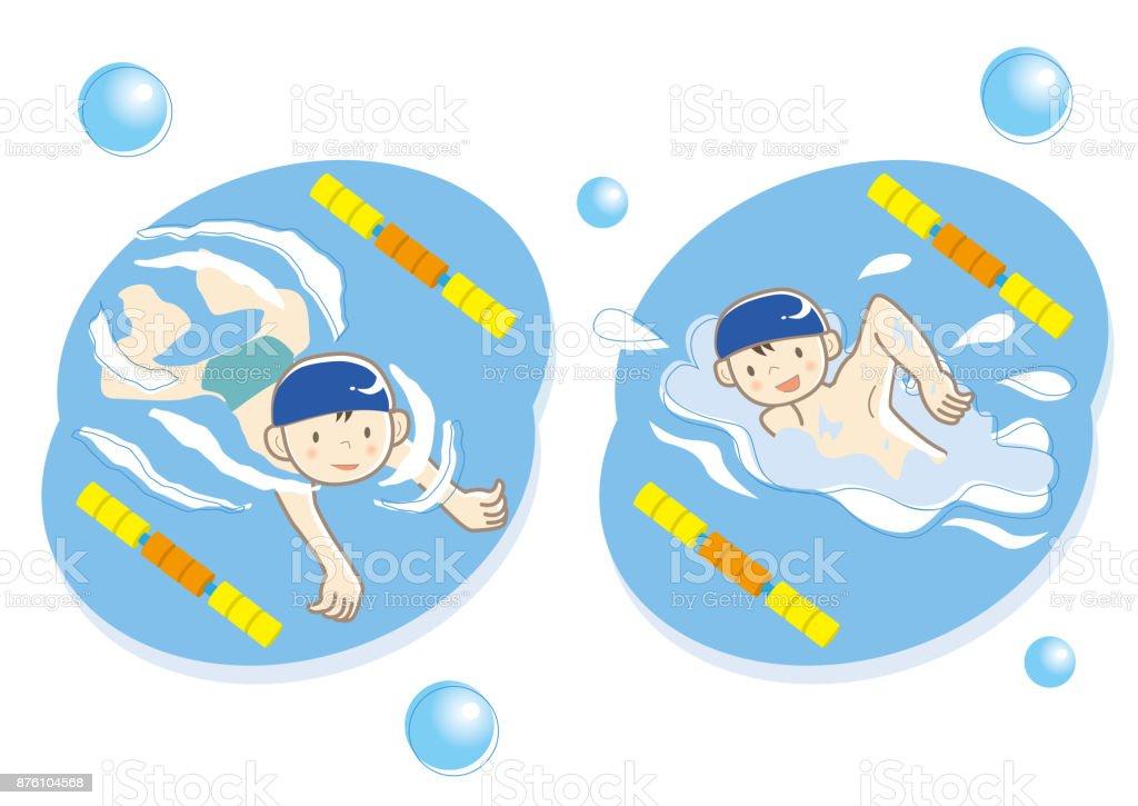 Children's swimming school image vector art illustration