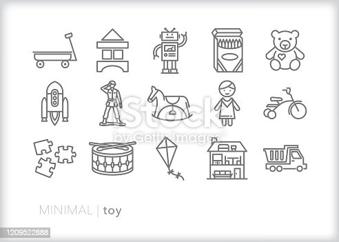 Set of 15 toy line icons for boys and girls, toddlers and children to play at home, at school, in nursery or at the park