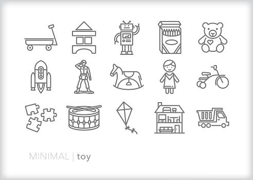 Children's toy line icon set