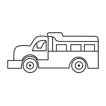 Children's toy plastic dump truck doodle. Isolated kids car on white background. Vector hand drawing illustration.