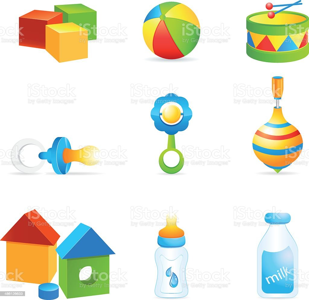 children's toys and baby food royalty-free stock vector art