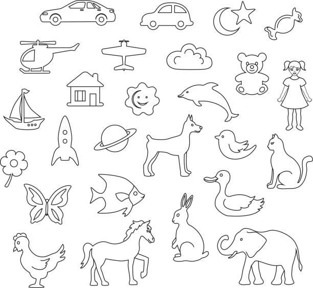 kinder spielzeug und objekte säumen doodle set - entenhaus stock-grafiken, -clipart, -cartoons und -symbole