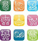 Childrens toys glossy icon set