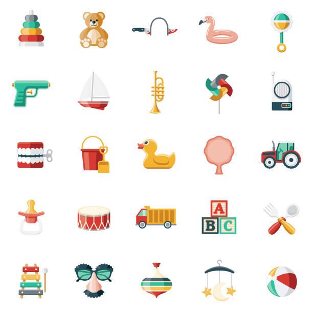 ilustrações de stock, clip art, desenhos animados e ícones de children's toys icon set - teddy bear
