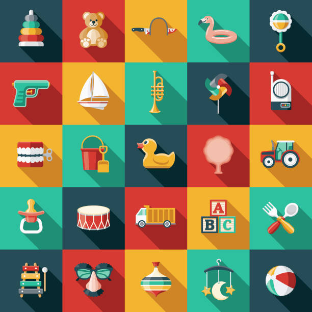 children's toys icon set - przedszkole stock illustrations