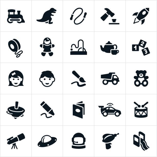 Iconos de juguetes para niños - ilustración de arte vectorial