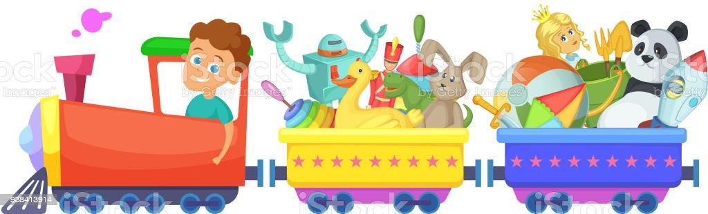 çocuk Oyuncakları Tren Vektör Karikatür çizimler üzerinde Beyaz