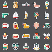 A set of flat design sticker icons. File is built in the CMYK color space for optimal printing. Color swatches are global so it's easy to edit and change the colors.