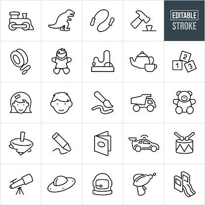 Children's Toys Thin Line Icons - Editable Stroke