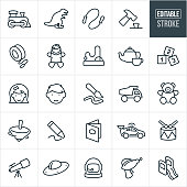 A set of children's toys icons that include editable strokes or outlines using the EPS vector file. The icons include a toy train, dinosaur, jumprope, hammer, yo-yo, doll, games, tea set, blocks, girl, boy, paintbrush, dump truck, teddy bear, top, crayon, book, car, drum, telescope, laser gun, slide and spaceship to name a few.