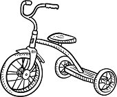 Doodle style children's tricycle sketch in vector format.  EPS10 file format with no transparency effects.
