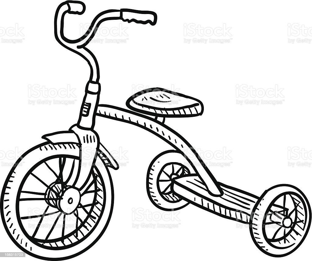Children's tricycle sketch vector art illustration
