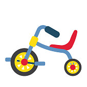 Children's Tricycle transportation cartoon character side view isolated on white background vector illustration.