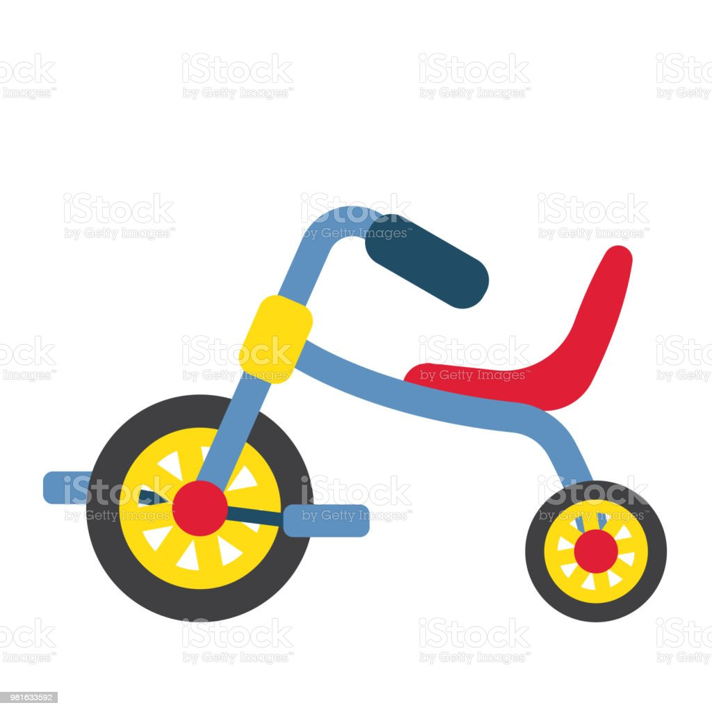 Children's Tricycle transportation cartoon character side view vector illustration vector art illustration
