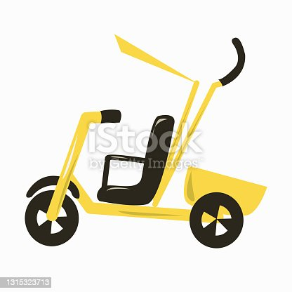 istock Children's tricycle yellow bicycle with a handle. 1315323713