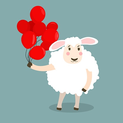 children's vector illustration of a sheep with red balloons in its hand