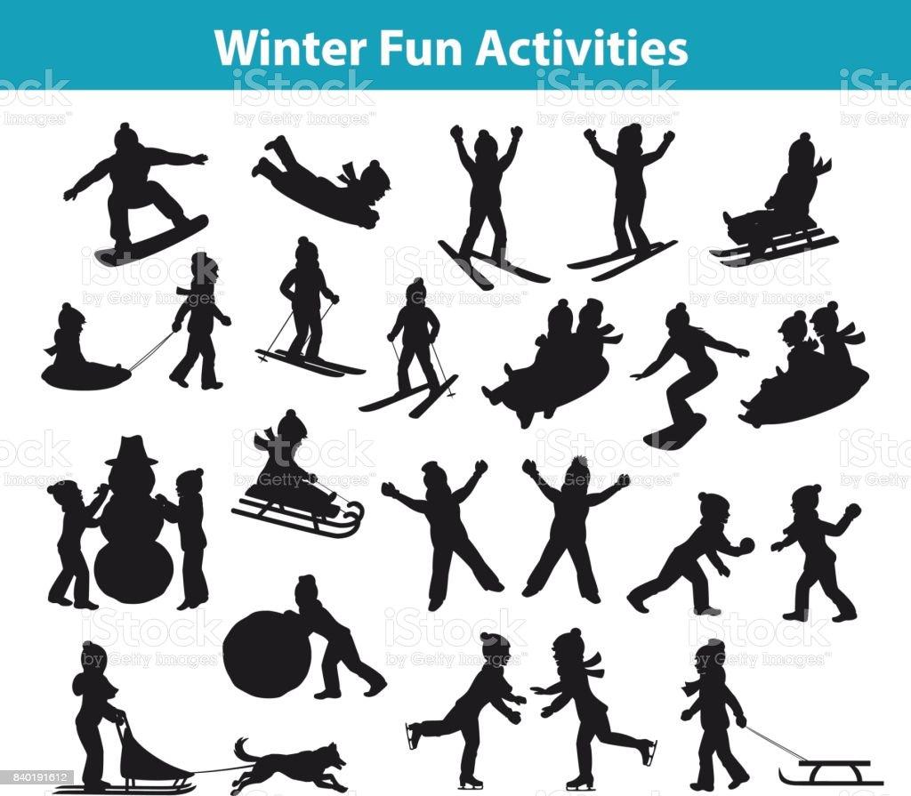 Inverno infantil divertidas atividades em gelo e neve conjunto de silhueta - ilustração de arte em vetor