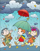 An a vector illustration of childrens with umbrellas.