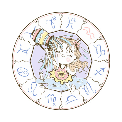 Children's zodiac. Aquarius Sign. The sweet girl is drenched in water. Vector