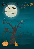istock childrens_11_illustration of all saints eve holiday, Halloween, night dark blue background with moon and scary tree 1166658501
