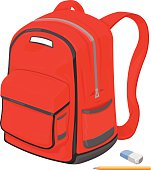 A vector illustration of a school bag or backpack for college.