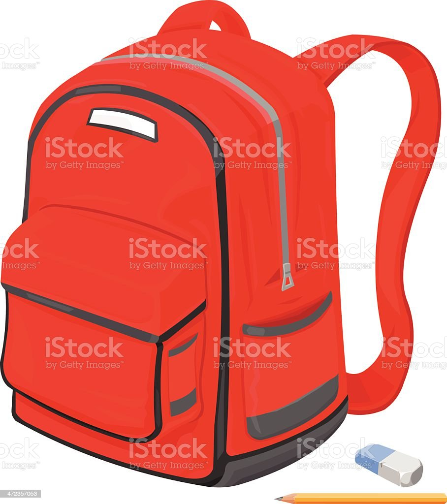 Childrens's School bag with Pencil and eraser vector art illustration