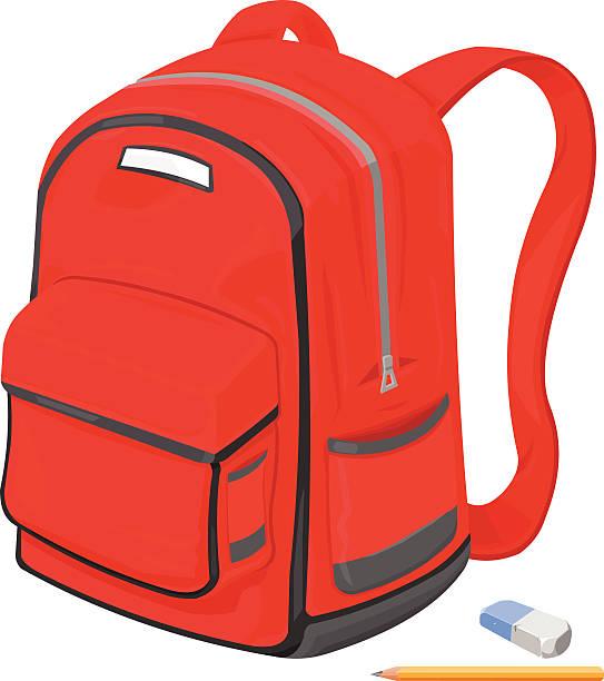 Bекторная иллюстрация Детский's Школьная сумка с карандаш и Ластик