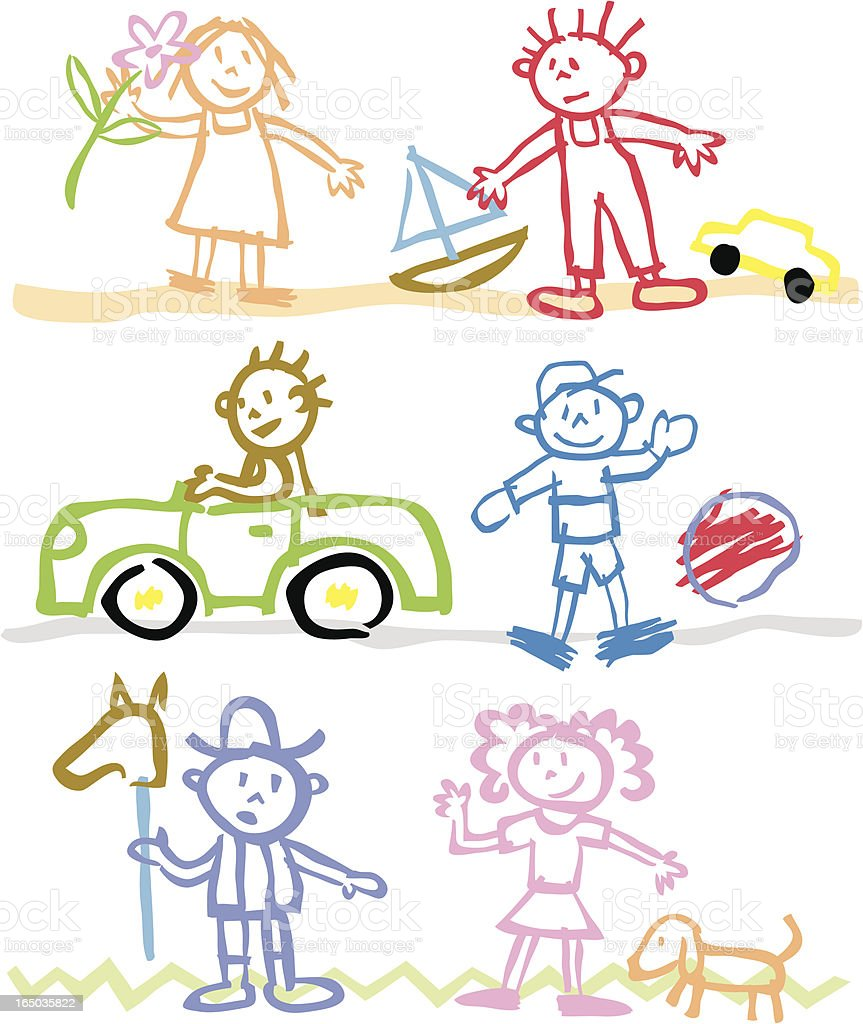 Children-style stickmen illustrations in different scenarios royalty-free stock vector art